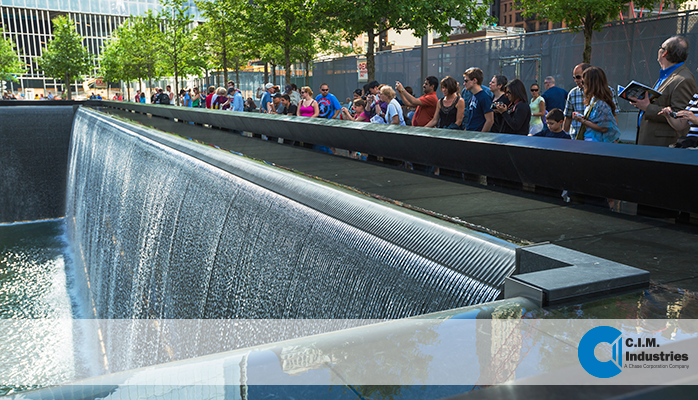 World Trade Center fountain troughs and weirs